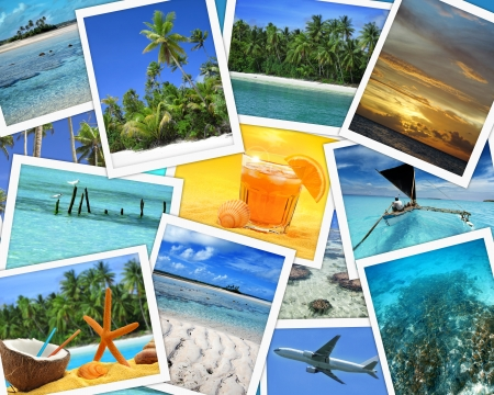 village vacances: collage de photos de destinations de voyage tropicales Banque d'images