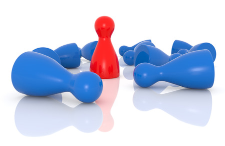 among: red pawn standing among blue fallen pawns Stock Photo