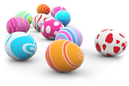 group of multi colored Easter eggs on white  photo