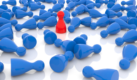 loser: red pawn standing among a crowd of blue pawns