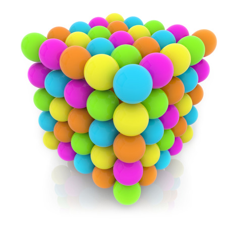 cubic structure made of colorful spheres isolated on white  photo
