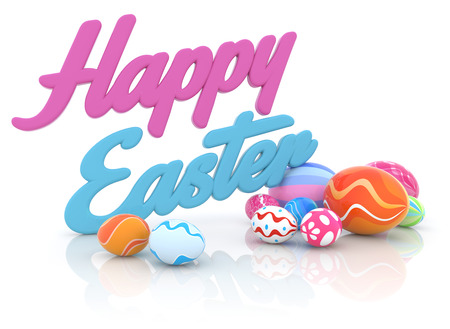 multi colored easter eggs and easter greeting photo