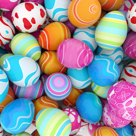 다채로운 부활절 달걀의 더미