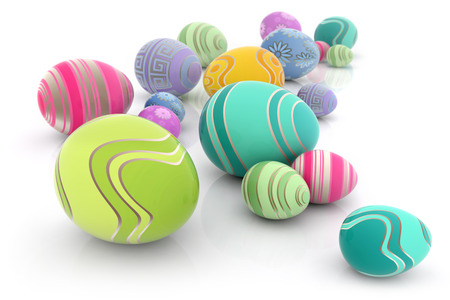 colored easter eggs scattered on white background
