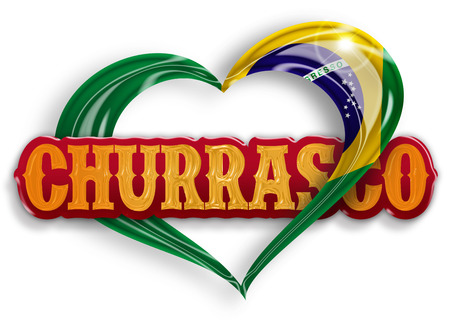 american cuisine: word churrasco in a heart with the brazilian flag colors