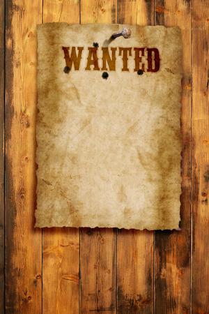 木製の壁の野生の西の募集ポスター 写真素材