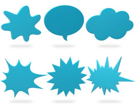 set of blue design elements on white background photo