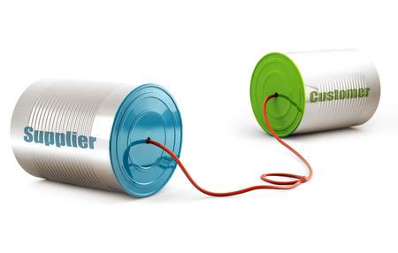 procurement: aluminium can telephone isolated on white background Stock Photo