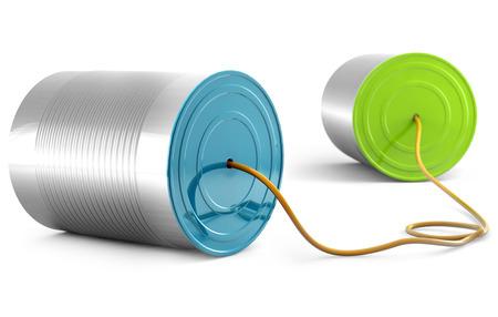 cable telefono: aluminio puede llamar por teléfono aislados en fondo blanco