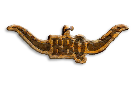 horny:  barbecue wooden insignia isolated on white background