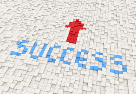 success way in a texture of white cubes photo