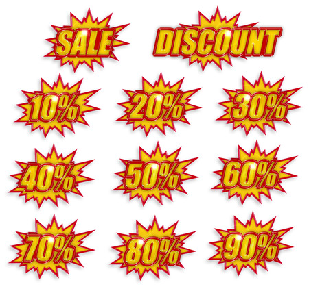 icon set of discount percentage on white background photo