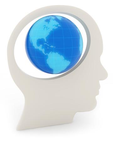 global innovation: blue globe in a human head profile