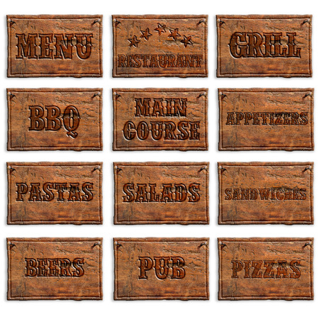 main course: set of wooden panels with menu entries