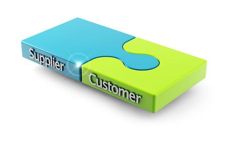 퍼즐 두 조각으로 고객과 공급자 사이의 일치의 개념