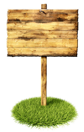 wooden sign on a patch of grass photo