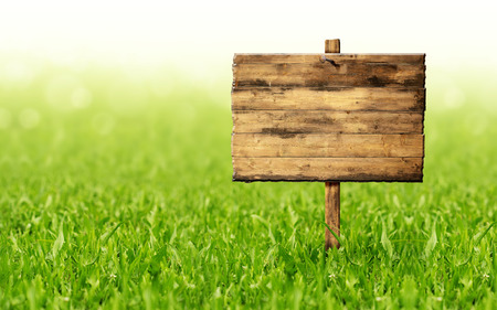 wooden sign on a green grass lawn photo