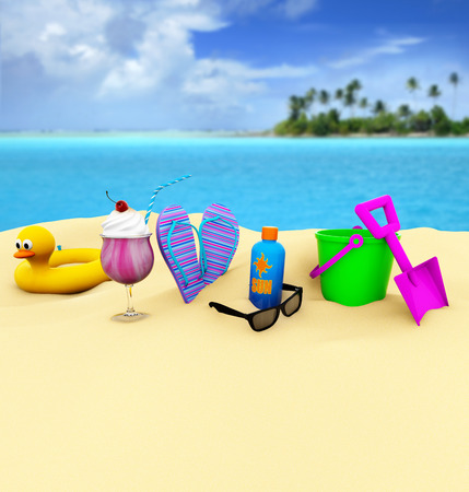 3D colorful beach accessories and ice cream in the sand photo