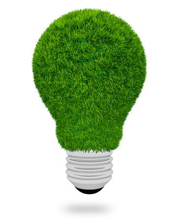 3D light bulb made of green grass on white  photo