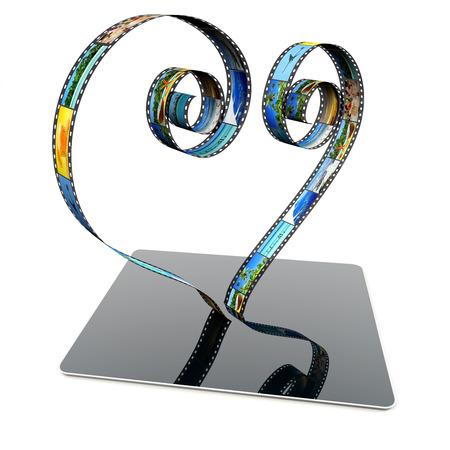 film strip in shape of heart on a laptop photo
