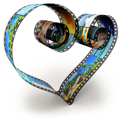 filmroll: filmstrip in shape of heart on white