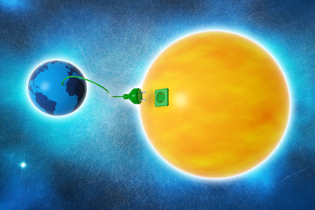 planet earth and sun connected by an electric wire photo