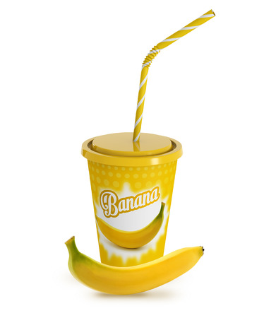 to go cup: 3D to go cup of banana milkshake and fresh banana