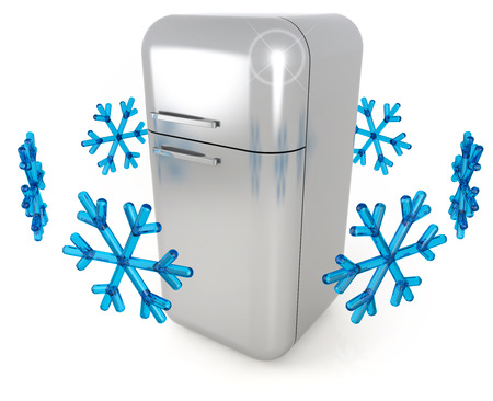 cold storage: steel refrigerator and blue snowflakes on white