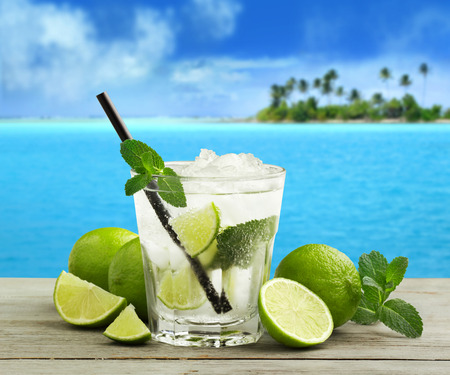 mojito cocktail and fresh ingredients in a tropical landscape photo