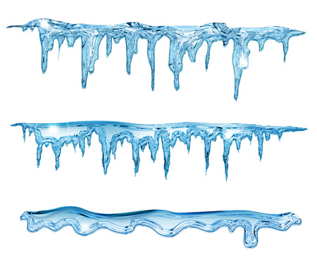 cold temperature: set of blue icicles on white  Stock Photo