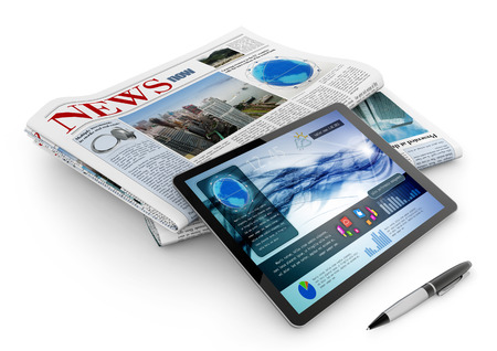 publishing: daily newspaper, tablet and pen on white background Stock Photo