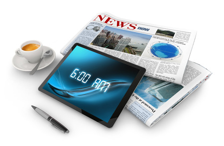 daily newspaper, tablet, pen and coffee cupful photo