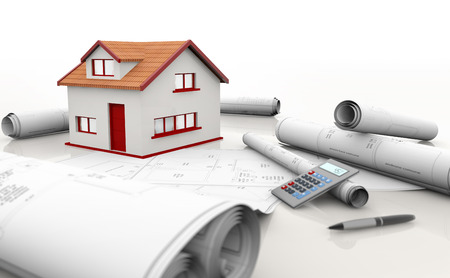 house model, blueprints and calculator on white background photo