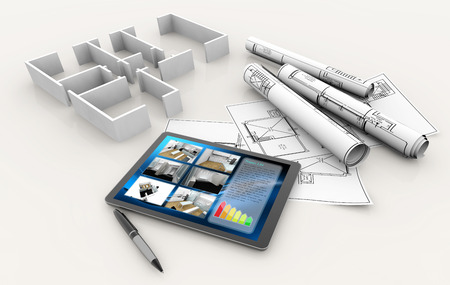 house model, blueprints, tablet and pen