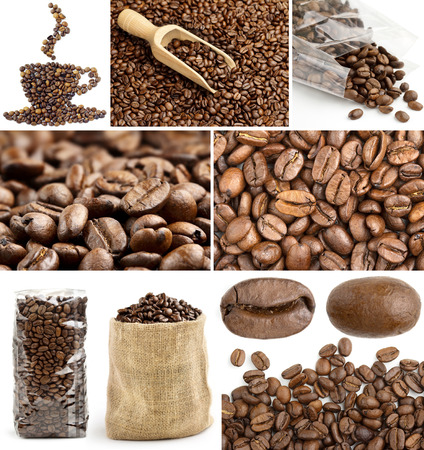 collage backgrounds with coffee beans and packages photo