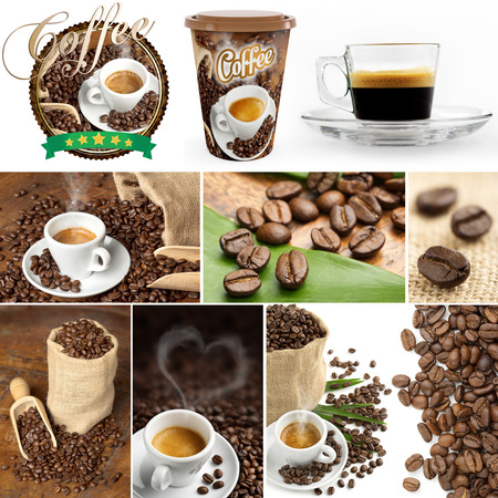 collection of images of coffee beans and coffee cupfuls  photo