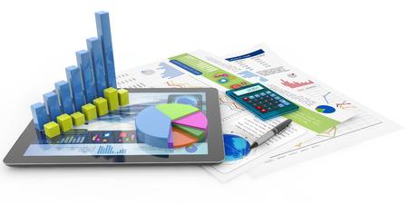 grafika, számológép, toll, tabletta és pénzügyi dokumentumok Stock fotó