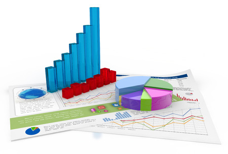 market analysis: three-dimensional charts and financial documents on white background