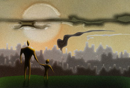 pollution art: man holding a kid s hand in front of a polluted cityscape