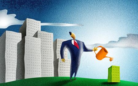 bioedilizia: Uomo d'affari annaffiare un piccolo edificio verde in un paesaggio urbano