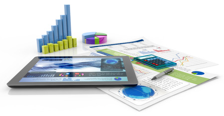 investment analysis: graphics, calculator, pen, tablet and financial documents