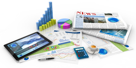 graphs, tablet and newspaper on white background Stock Photo
