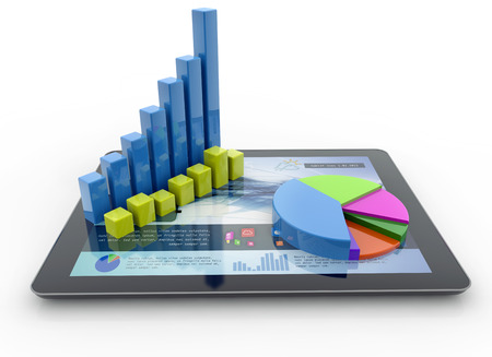bar chart: three-dimensional charts over a tablet on white background Stock Photo