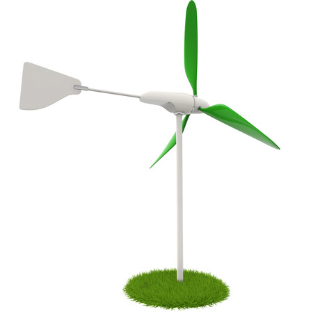 wind turbine in a green flowerbed on white background photo