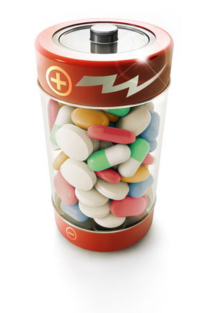 battery full of colorful pills on white background photo