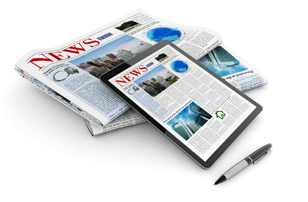 tablet and daily newspaper on white background photo