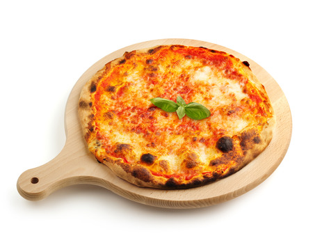 neapolitan pizza on a wooden cutting board photo
