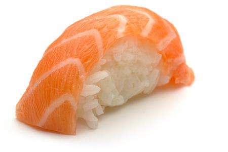 nigiri: one salmon nigiri sushi isolated on white background