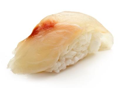 nigiri: sea bass sushi isolated on white background