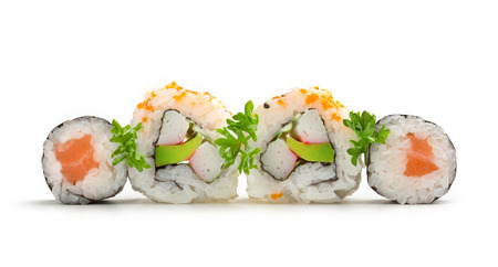 salmon sushi maki and california rolls in row photo